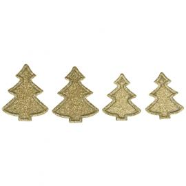 Самозалепящи елхички с брокат, златни
