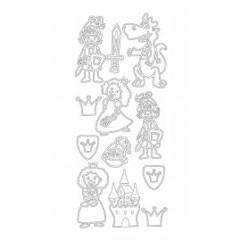 Стикери - рицари, дракони и принцеси