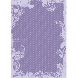Дизайнерска хартия, А4 - Точки с орнаменти, лилаво 6