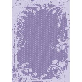 Дизайнерска хартия, А4 - Точки с орнаменти, лилаво 8