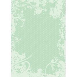 Дизайнерска хартия, А4 - Точки с орнаменти, мента 10