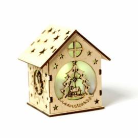 Дървена коледна къща - елхичка