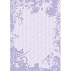 Дизайнерска хартия, А4 - Точки с орнаменти, лилаво 5