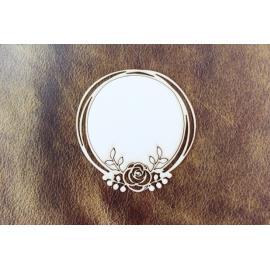 Бирен картон - рамка кръг с роза