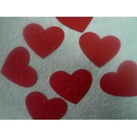 Хартиени елементи - сърчица с релеф, червени