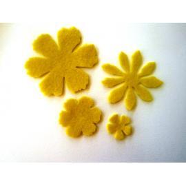 Филцови цветя - микс, жълти