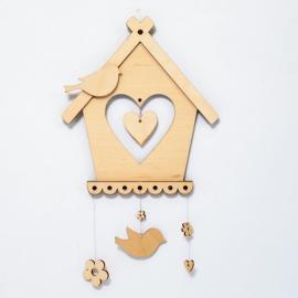 Дървена декорация - къщички за птички