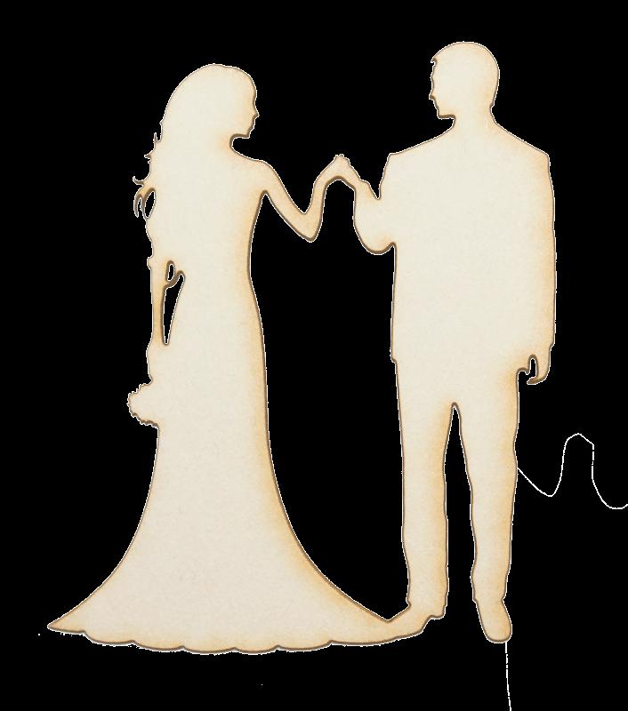 Бирен картон - силуети младоженци за ръка с букет 5