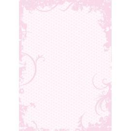 Дизайнерска хартия, А4 - Точки с орнаменти, розово 2