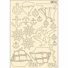Бирен картон - сет 2 морски