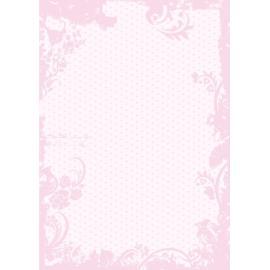 Дизайнерска хартия, А4 - Точки с орнаменти, розово 1