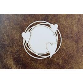 Бирен картон - рамка кръг с големи сърца