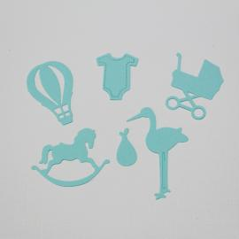 Хартиени елементи - бебешки, синьо-зелени