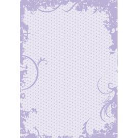 Дизайнерска хартия, А4 - Точки с орнаменти, лилаво 2
