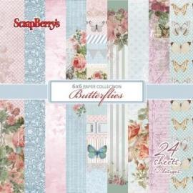 Дизайнерска хартия, блокчe - Butterflies 6х6 инча