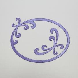 Хартиени елементи - рамка овална със завъртулки, лилава