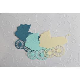 Хартиени елементи - бебешки колички 1, 3бр