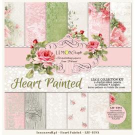 Дизайнерска хартия, блокчe - Heart Painted 12х12 инча