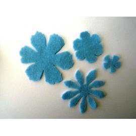Филцови цветя - микс, сини