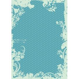 Дизайнерска хартия, А4 - Точки с орнаменти, тюркоаз 6