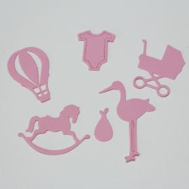 Хартиени елементи - бебешки, розови