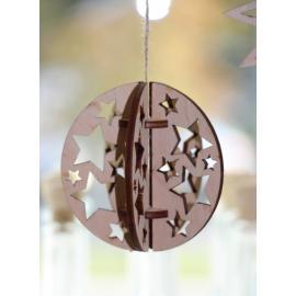 Дървена 3Д топка със звездички