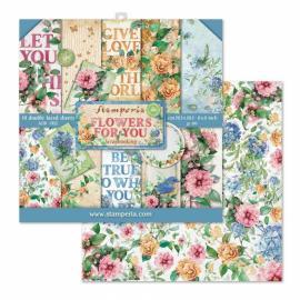 Дизайнерска хартия, блокчe - 20.3х20.3см, Flowers for you