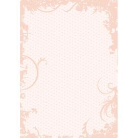 Дизайнерска хартия, А4 - Точки с орнаменти, праскова 2