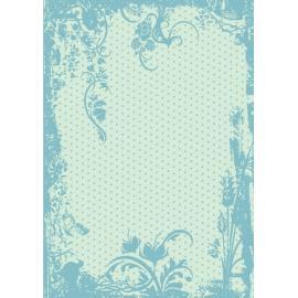 Дизайнерска хартия, А4 - Точки с орнаменти, тюркоаз 4